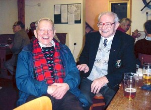 G0CEJ Cyril with 2E0GXN Wilf enjoying a pint at the club.