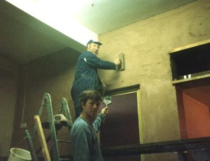 Ray G1UPL plastering also Roland SWL lending a hand.